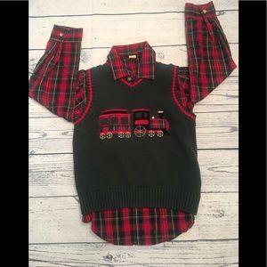 Boy's Class Club Christmas sweater & button-up